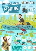 Fisherman, Fishing Boat And Fish Catch, Tackle And Sport Equipments. Fishing Rod, Hook And Lure, Sal poster