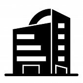 Rounded Skyscrapers Solid Icon. Office Building With Rounded Roof Vector Illustration Isolated On Wh poster