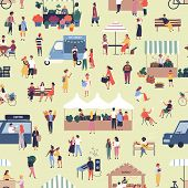 Seamless Pattern With People Buying And Selling Goods At Street Food Seasonal Market. Backdrop With  poster