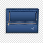 Blue Leather Folder Icon. Realistic Illustration Of Blue Leather Folder Vector Icon For Web Design poster