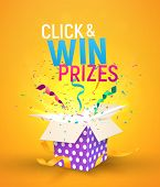 Open Brigh Textured Box With Confetti Explosion Inside And Click And Win Prizes Text. Flying Particl poster