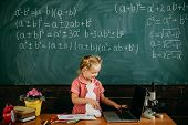 Girl Use Laptop At Typing Lesson. Little Child Type Keyboard Of Laptop In School. Your Personal Assi poster
