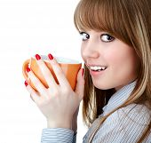Portrait of beautiful woman drinking coffee isolated