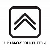 Up Arrow Fold Button Icon Isolated On White Background. Up Arrow Fold Button Icon Simple Sign. Up Ar poster