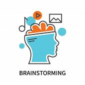 Brainstorming Icon Isolated On White Background. Brainstorming Icon Simple Sign. Brainstorming Icon  poster