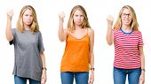 Collage of beautiful blonde woman over white isolated background angry and mad raising fist frustrat poster
