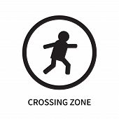Crossing Zone Icon Isolated On White Background. Crossing Zone Icon Simple Sign. Crossing Zone Icon  poster