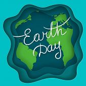 April Mother Earth Day. Handwritten Text On The Abstract Background With Earth Planet And Waves With poster