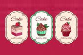 Poster Vector Template With Cupcakes. Advertising For Bakery Shop Or Cafe. Cake And Cupcake Menu Ban poster