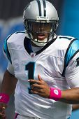 CHARLOTTE, NC - OCT 09, 2011:  Carolina Panthers Quarterback, Cam Newton, plays against the New Orle