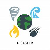 Disaster Icon Isolated On White Background. Disaster Icon Simple Sign. Disaster Icon Trendy And Mode poster