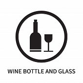 Wine Bottle And Glass Icon Isolated On White Background. Wine Bottle And Glass Icon Simple Sign. Win poster
