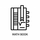 Math Book Icon Isolated On White Background. Math Book Icon Simple Sign. Math Book Icon Trendy And M poster