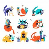 Guilty Cat Flat Hand Drawn Vector Color Characters Set. Cute, Naughty And Playful Cats Eat, Damage H poster