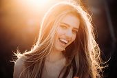 Perfect Smile. Happy Woman. Perfect Smiling On Sunny Background. Beautiful Model Girl With Perfect F poster