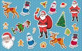 Christmas Sticker. Set Of Different Sticker For Christmas. New Year. Different New Year Characters.  poster