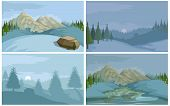 Winter Landscape. Christmas Colorful Nature. Hand Drawn Winter Scene With Christmas Landscape. Сhris poster