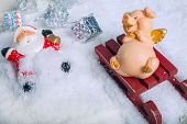 Funny Naughty Pig Laughing At Santa Claus Accident Who Fall From Sleigh And Lost Gifts poster