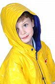 Adorable Four Year Old Boy In Rain Coat poster