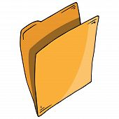 Folder For Files Icon. Vector Folder For Documents. Hand Drawn Folder With Files, Documents. poster