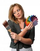 Woman With Brush And Color Swatches