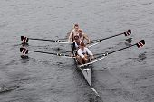 Stanford University Mens Fours races in the Head of Charles Regatta