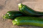 Organic Zucchini On Sackcloth Background