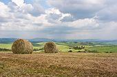 Hay Bales On Tuscan Landscape