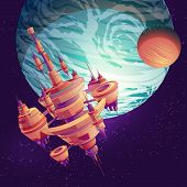 Future Deep Space Exploration Cartoon Vector With Intergalactic Space Station, Colony Or Metropolis  poster