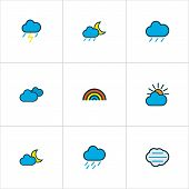 Climate Icons Colored Line Set With Nimbus, Cloudy Day, Raindrop And Other Clouded Elements. Isolate poster