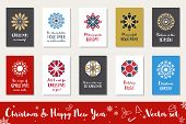 Christmas And Happy New Year Greeting Cards Collection. Winter Holidays Vector Set With Mosaic Ornam poster
