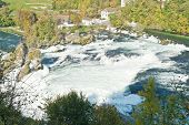 Mighty Rhine Falls (Rheinfall) at Schaffhausen in Switzerland.