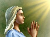 Young woman wearing an hood is praying with devotion. Digital illustration.