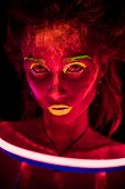 Portrait Of A Beautiful Young Sexy Girl In Neon Lent With Ultraviolet Paint On Her Body. Pretty Woma poster