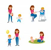 Babysitter Deals With Children. The Nanny Feeds, Walks With The Child, Plays With The Child. A Set O poster