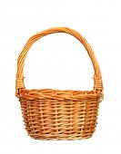 Handmade basket of wicker isolated on a white background poster