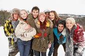Groep jeugdvrienden plezier In het besneeuwde landschap