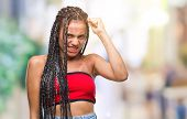 Young braided hair african american with pigmentation blemish birth mark over isolated background an poster