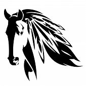 Wild Mustang Horse With Feathers In Mane - Native American Spirit Animal Black And White Vector Desi poster