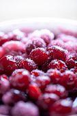Cherry jam. Close up of simmering homemade cherry jam. Cherry and sugar crystal. Stewed cornel (dogw poster
