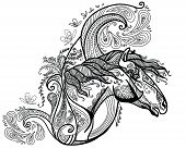 Vector Hand Drawing Illustration Zentangle Horse In Black Color Isolated On White Background. Doodle poster