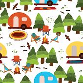 Camping Seamless Vector Pattern Caravan, Camping Chairs, Fire Place, Rugs, Trees, Birds On A White B poster
