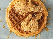 Close Up Of Rustic Southern American Comfort Food Chicken Waffle poster