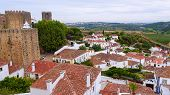 Panorama Of The  Old City Obidos, Portugal poster