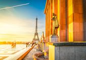 Famous Eiffel Tower From Gardens Of The Trocadero Square At Sunrise, Paris France, Retro Toned poster