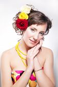 Beautiful Woman - Vernal Happy Young Girl With Flowers Closeup