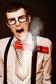 Vintage Male Business Dork Under Explosive Stress