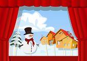 Christmas Puppet Theater. Village Of Snowman
