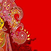 foto of navratri  - illustration of colorful Goddess Durga against abstract background - JPG