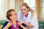 stock photo of geriatric  - a home care nurse visits a patient - JPG